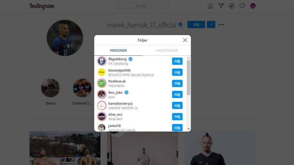 Marek Hamšík följer nu IFK Göteborg på Instagram
